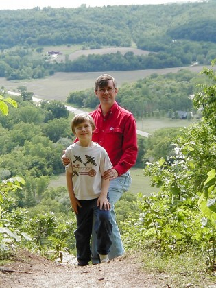 My son and I on a hike in the mountains