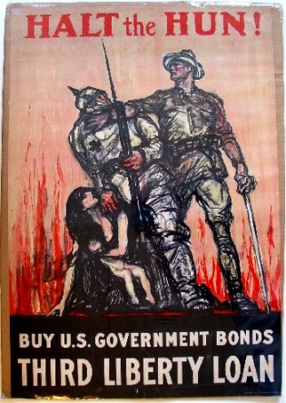 Propaganda to make us hate those whom the Zionists wish us to war against did not begin with Iraq: a poster from WW1, illustrating the common but utterly false characterization of Germans as so-called Huns threatening women
