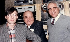 Kevin Strom, Italian pop star Aurelio Fierro, and Italian Melodies producer and host Pino Cicala in the WEAM, Arlington studios, May 1984.