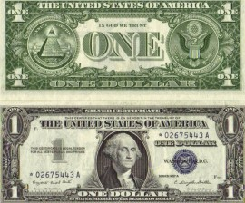 silver certificate from 1957, one dollar