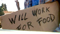 """Will work for food"" sign"